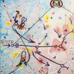Genau, mixed media on canvas, 31.5 x 43 in, 2015