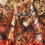 Golden City 4, mixed media on paper, 70 x 100 cm, 27.5 x 39 in, 2007